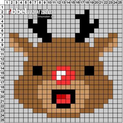 """Pixel Pattern – """"Reindeer"""" – 25×25"""