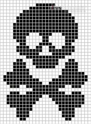Pixel Pattern – Skull with Bones – 28×38