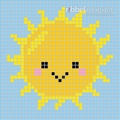 Pixel Pattern – Kawaii Sun – 35×35